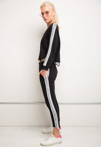 Saskia Black Paneled Sweatpants With Stripe