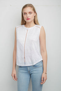 Simi White Sleeveless Top with Circle Trim