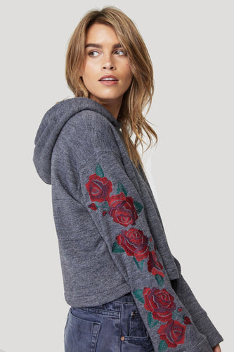 Rose Night Vintage Black Hoodie