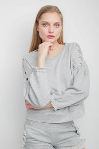 Val Heather Grey Jumbo Eyelets Sweatshirt