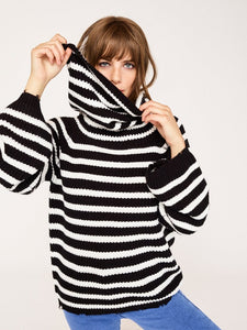 Jagger Black & White Striped Cowl Neck Sweater