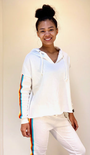 Cropped Hoodie with Rainbow Sport Stripes