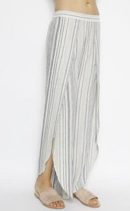 Whitney Denim Stripped Pants With Side Slit