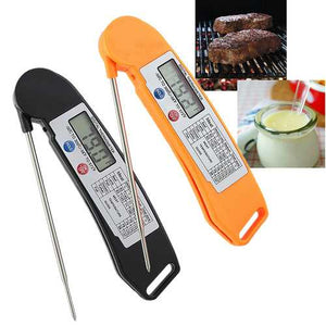 Foldable Digital Instant Read Food Probe Cooking Meat Kitchen BBQ Thermometer