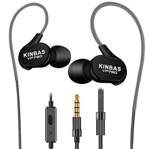 KINBAS VP790 3.5mm Wired Control HiFi Deep Bass In-Ear Metal Earphone with Builit-in Mic