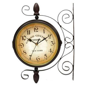 Rotating Double Side Wall Clock Garden Indoor & Outdoor Station Wall Mounted With Bracket