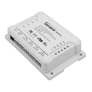 SONOFF 4CH Pro R2 10A 2200W 2.4Ghz 433MHz RF Inching/Self-Locking/Interlock Smart Home Module WIFI Wireless Switch APP Remote Control AC 90V-250V / 5-24V DC Din Rail Mounting Home Automation Module
