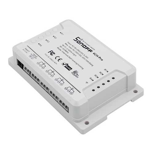 SONOFF® 4CH Pro R2 10A 2200W 2.4Ghz 433MHz RF Inching/Self-Locking/Interlock Smart Home Module WIFI Wireless Switch APP Remote Control AC 90V-250V / 5-24V DC Din Rail Mounting Home Automation Module