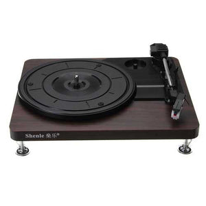 Shenle 33RPM Antique Gramophone Turntable Disc Vinyl Wood Record Player RCA R/L 3.5mm Output USB