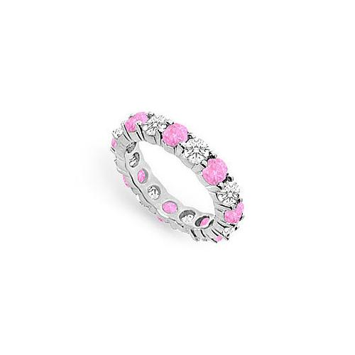 Pink Sapphire and Diamond Eternity Band : 14K White Gold – 3.00 CT TGW