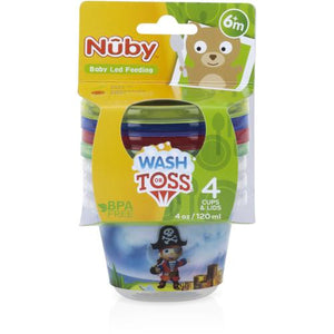 Case of [72] Nuby? Wash or Toss Snack Cups with Lids 4 oz 4-Pack