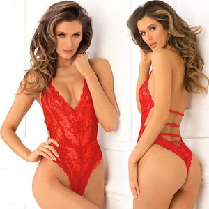 Spank Me Strap-Back Lace Teddy Red M/L