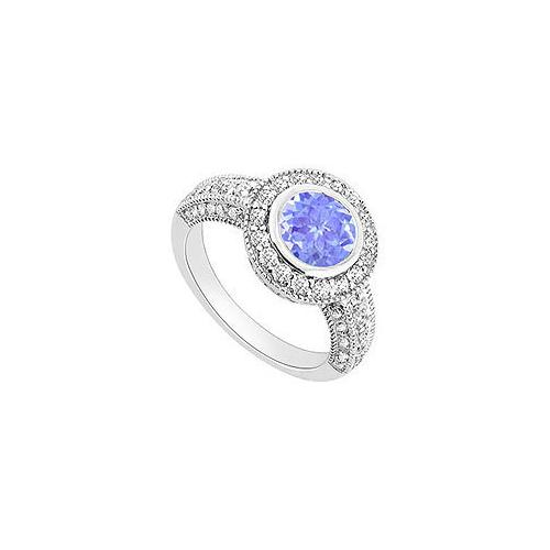 Tanzanite and Diamond Halo Engagement Ring : 14K White Gold - 1.75 CT TGW