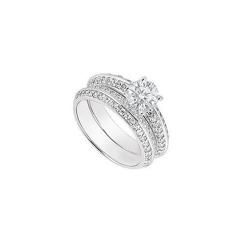 14K White Gold Diamond Engagement Ring with Wedding Band Sets 1.00 CT TDW