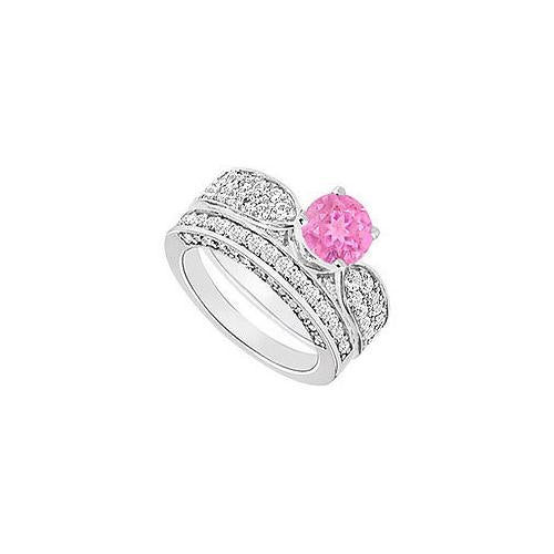 14K White Gold : Pink Sapphire and Diamond Engagement Ring with Wedding Band Set 2.15 CT TGW