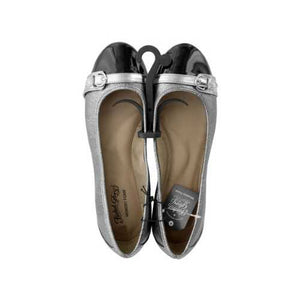 Ladies Size 95 Buckle Toe Silver & Black Memory Foam Flats ( Case of 4 )
