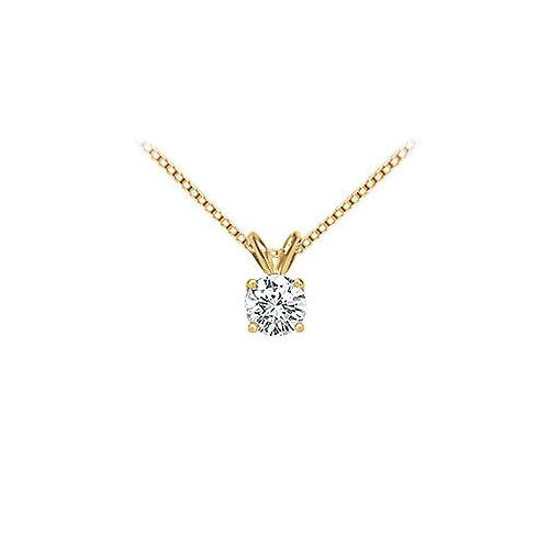 14K Yellow Gold : Round Diamond Solitaire Pendant - 0.75 CT.TW.