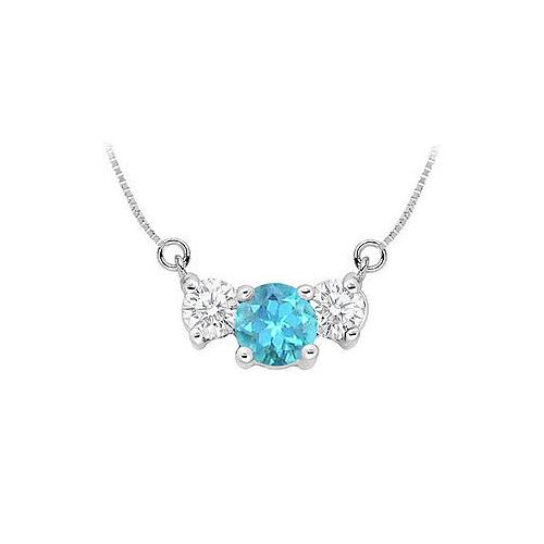 Blue Topaz and Cubic Zirconia Pendant : .925 Sterling Silver - 1.50 CT TGW