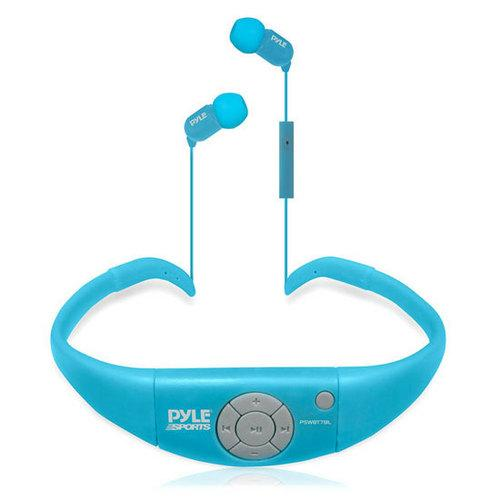 Active Sport waterproof Bluetooth Hands Free Wireless Stereo Headphones and Headset with Built in Microphone for Call Answering (Blue)