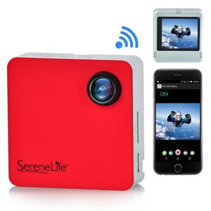 Full HD 1080p WiFi Pocket Cam, 2-in-1 Camera + Camcorder, Control via Smartphone (Red)