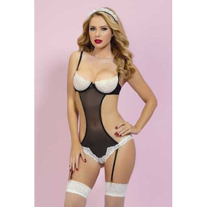At Your Service Teddy Set  - One Size - Black/ White