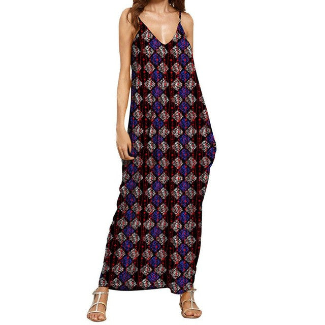 Summer Fashion Dresses clothes for pregnant women Print V Neck Sleeveless Maxi