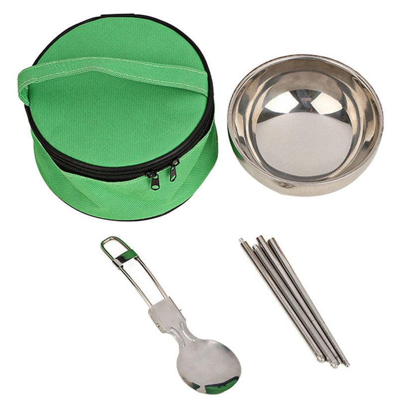 New 3 in1 Cutlery Camping sets Portable Stainless Steel Picnic tableware Bowl