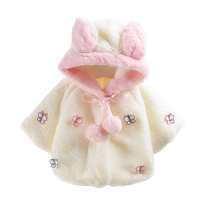 2017 Fashion Hooded Winter Coat Cloak Baby Infant Butterfly