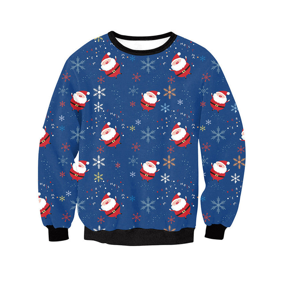 Women Long Sleeve Pullover Sweatshirt Santa Claus Christmas T-Shirt Tops
