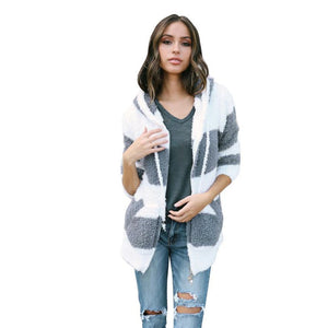 FEITONG Women Patchwork Cardigan Coat Fashion Street Style Hooded