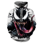 Venom Spiderman Mens Hoodie Sweater Jacket Zip Coat 3D Cosplay Pullover Top Coat