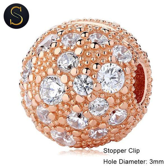 Charm Stopper Clip pierre Blanche Rose Gold