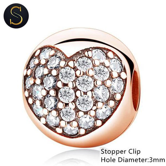 Charm Stopper Clip Coeur Rose Gold