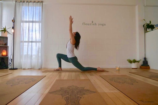 Warrior Pose on Cork Yoga Mat in Yoga Studio