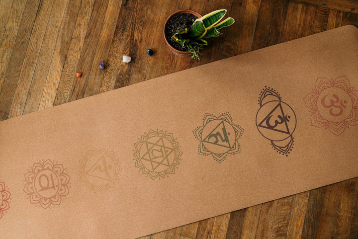 Cork yoga mat with 7 chakras