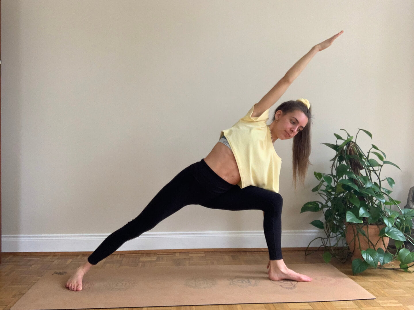 Amy Nevins demonstrating extended side angle pose