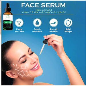 Face Serum with Hyaluronic Acid, Vitamin C & E