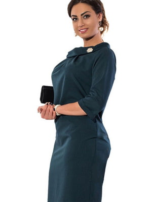 Plus Size Solid Color 3/4 Sleeve Women's Bodycon Dress