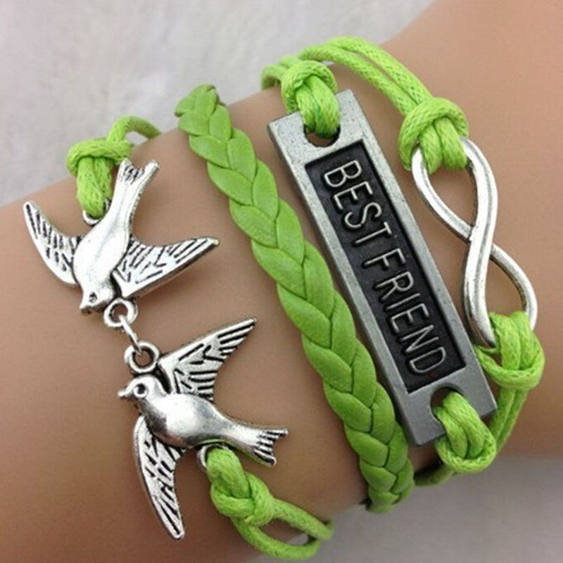 NEW Hot Fashion BEST FRIEND Women's Leather Cute Charm Bracelet plated silver