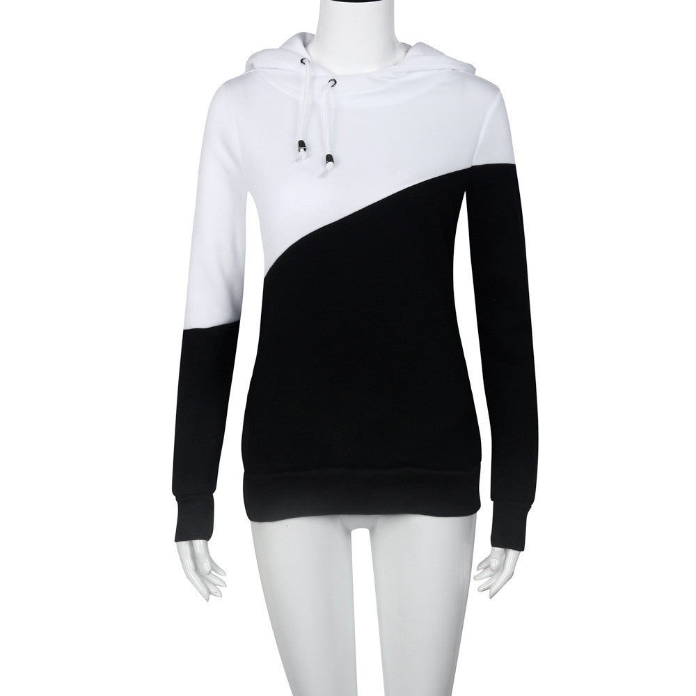 Winter Women's Casual Black+White Patchwork Hooded Cotton Top