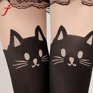 Women's Cat Print Cashmere Sexy Thigh High Stockings
