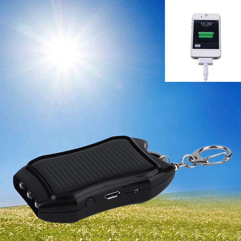 Portable Mobile Power USB Charger Mini Keychain Solar Power Charger For Smartphones With LED Lights, Staff Picks