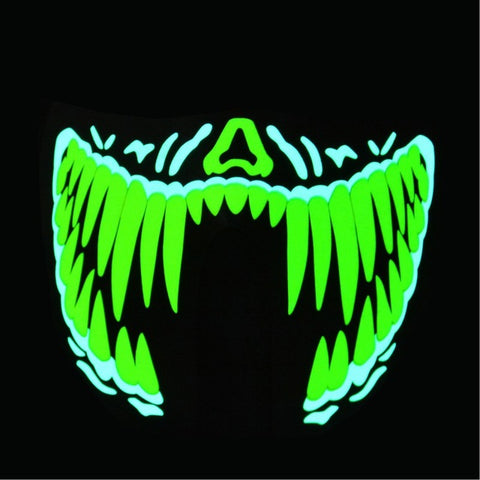 Green Fang - LED Sound Activated Rave Mask