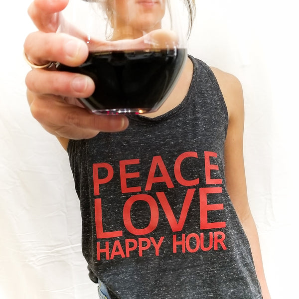Peace Love Happy Hour | Inspirational Leisure Way | Tipsy Tanks | Shop Wander Wear