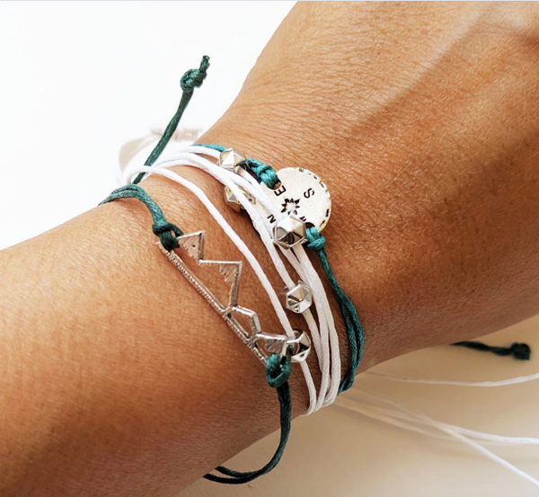 Compass and Mountain Peak Bracelet | Travel Inspired Accessories