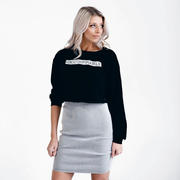 Unstoppable | Inspirational Leisure Wear | Cropped Long Sleeve | Shop Wander Wear