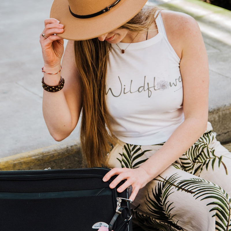 White Wildflower | Relaxed High Neck Tank