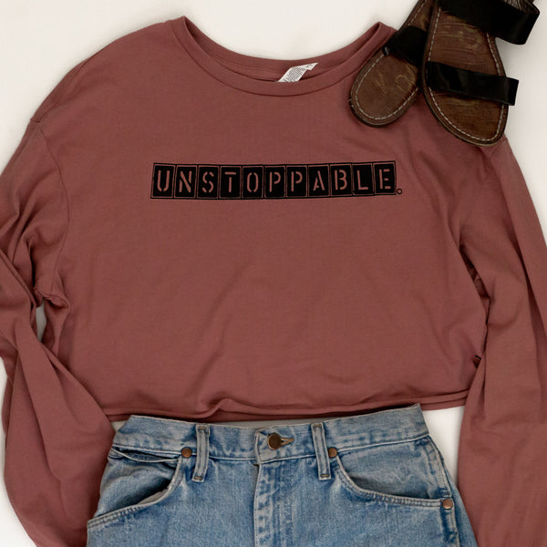 Unstoppable | Inspirational Leisure Wear | Cropped Long Sleeve