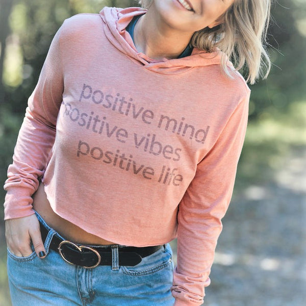 Positive Mind | Athleisure Wear | Cropped Long Sleeve Hoodie