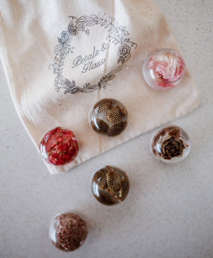 Petals & Glass resin floral magnets- Locally Made